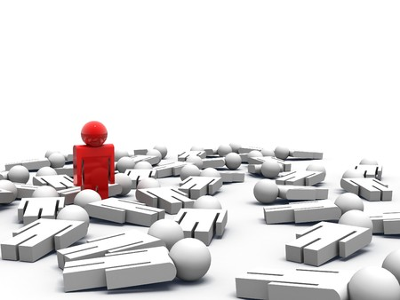 3d render of one man standing while the others are lying on the ground Stock Photo - 7003604