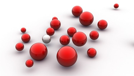 abstract 3d image of metallic painted balls Stock Photo