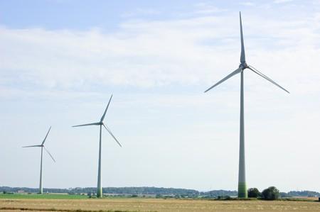 three modern windmills in sweden Stock Photo - 7719034