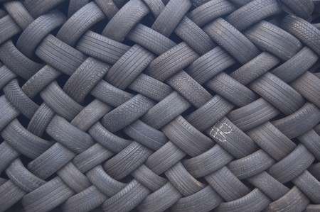 traction: a wall made of stapeled tires