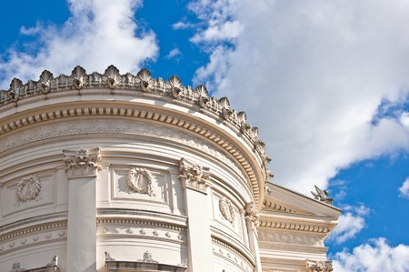 A ancient Roman building in front of the blue sky Stock Photo