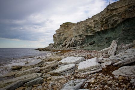 great bay: Cliffs on a Baltic sea shore in a stormy weather