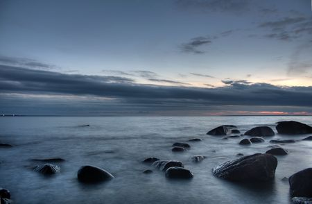Mysterious view of stones and pebbles in  after sunset. Stock Photo - 3541207
