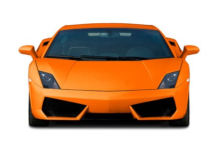 supercar: Bright orange modern supercar isolated on white. Front view.