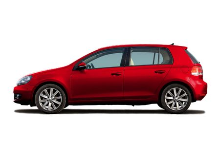 Cherry red hatchback isolated on white