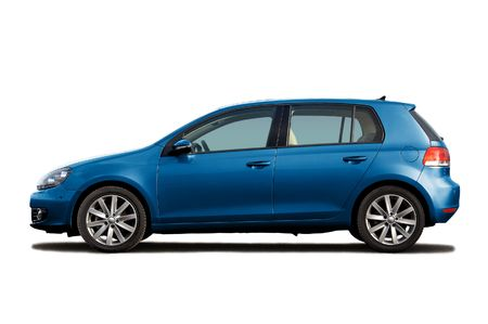 car side: Blue hatchback isolated on white