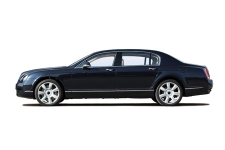 car side: Black exclusive business sedan isolated on whit