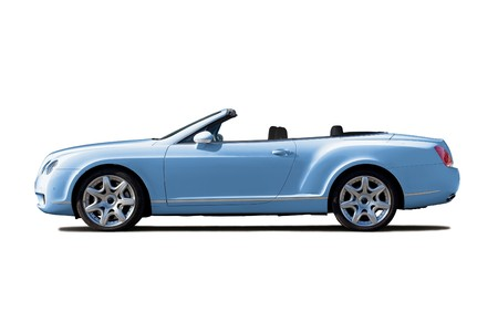 cabriolet: Light blue exclusive cabriolet with open top isolated on whte