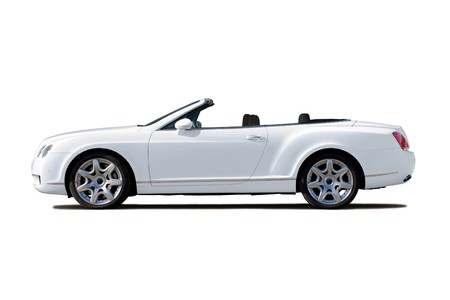 White exclusive cabriolet with open top isolated on whte