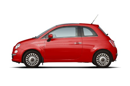 Red retro style compact hatchback