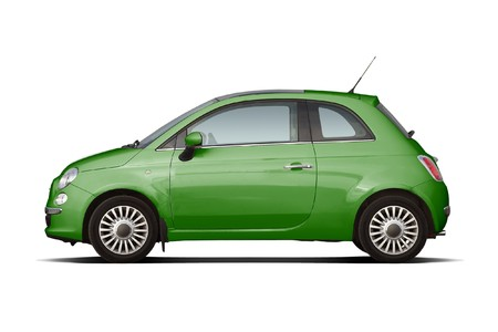 Green retro style compact hatchback