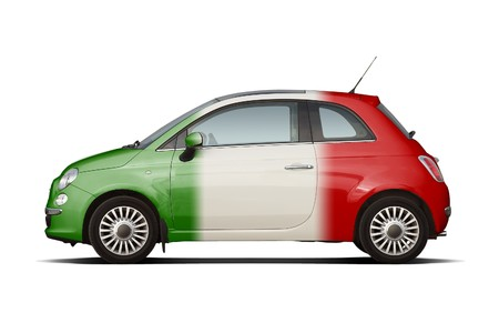 Retro style compact hatchback in colors of italian flag