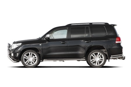 front side: Side view of black tuned luxury SUV isolated on white