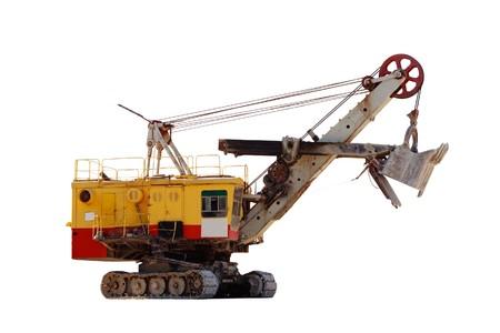 back hoe: Huge quarry excavator isolated on white