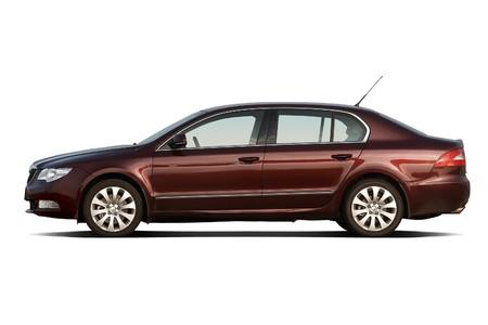 Cherry red large family sedan
