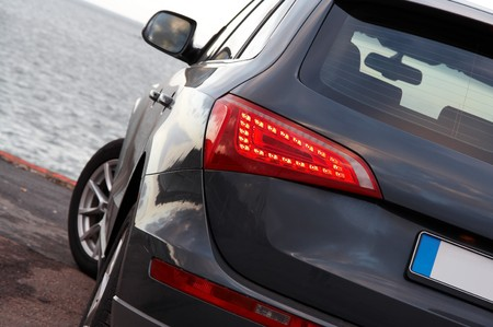 Luxury SUV rear light closeup  Stock Photo