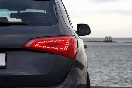 Luxury SUV rear light closeup Stock Photo