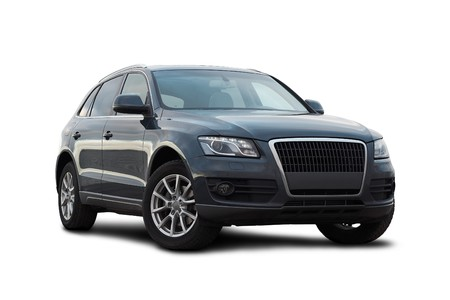 3 / 4 gezien donkerblauw luxe SUV