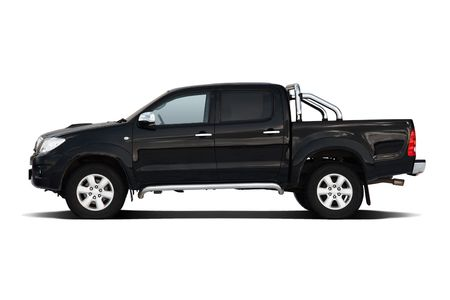 Black pickup truck isolated on white photo