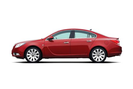 sedan: Cherry red business sedan isolated on white