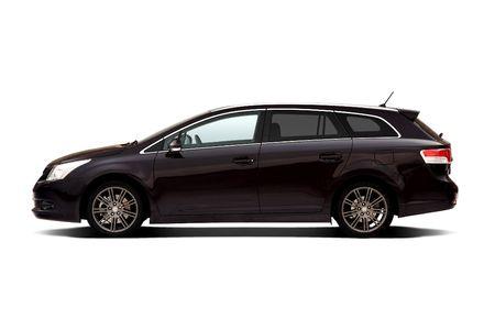 dark side: Dark violet estate family car isolated on white Editorial