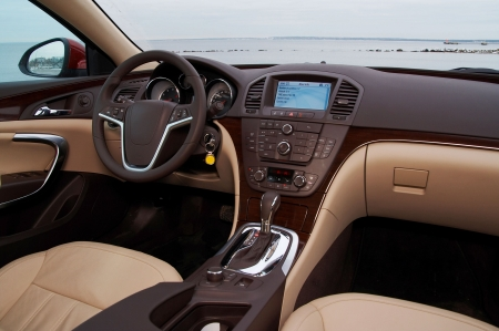 dash: Interior of a modern luxury car