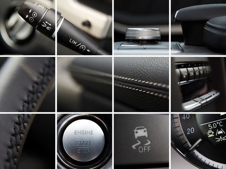 details: Car interior details collage Stock Photo
