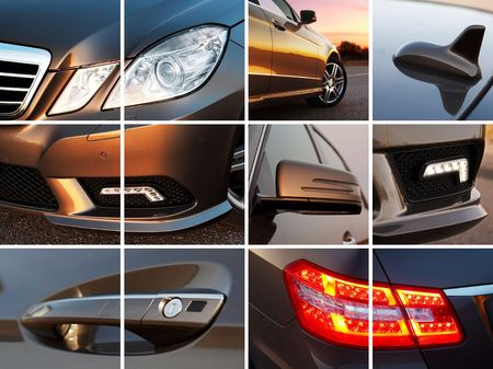 headlights: Luxury car exterior details collage Stock Photo