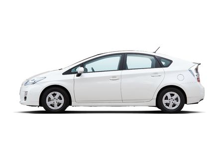fuel economy: White hybrid vehicle isolated on white background Editorial
