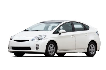 car front view: 34 front view of hybrid vehicle isolated on white Editorial