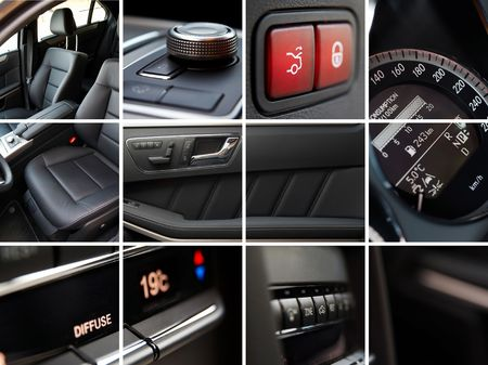 technology collage: Car interior details collage Stock Photo