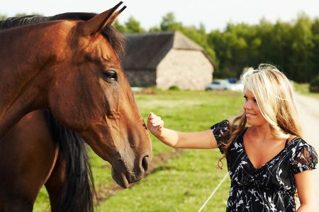 Cute blond girl touching nose of a horse