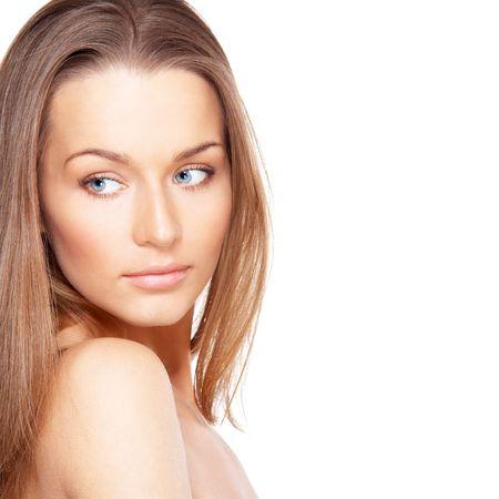 Portrait of beautiful lady with blue eyes isolated on white Stock Photo - 6400856