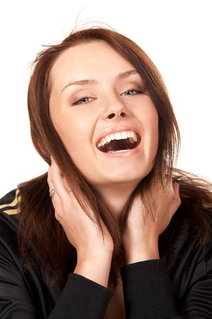 Young beautiful woman in sport wear laughing with mouth wide open photo