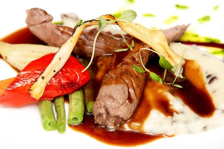 Slightly smoked lamb filet with puree and wine sauce with vegetables Stock Photo - 6701232