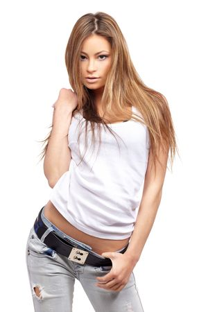 Glamorous young sexy woman on white background photo