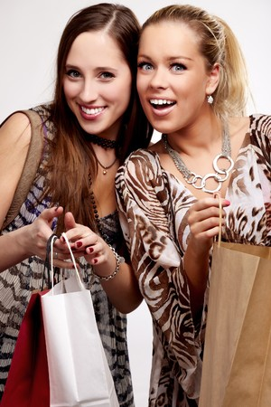 Two happy teenage girls on a shopping Stock Photo - 7144137