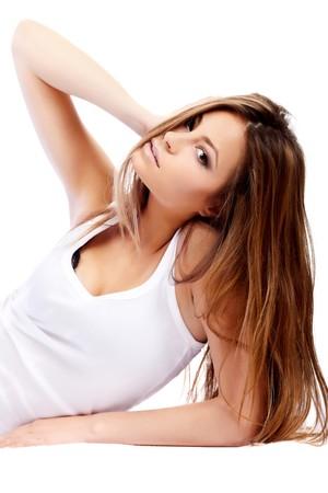 glamorous: Glamorous lying sexy woman on white background