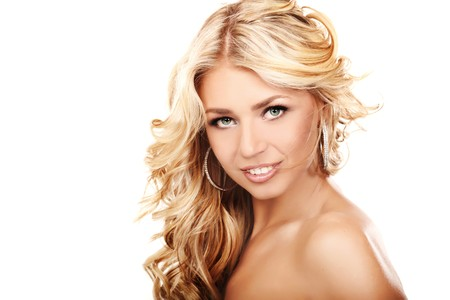 Portrait of a blond lady with a beautiful hair isolated on white Stock Photo - 7684545