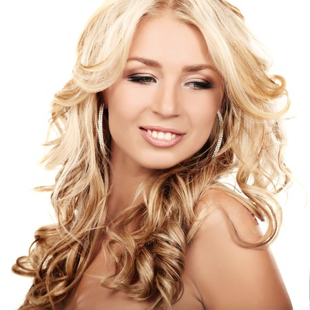 Portrait of a blond lady with a beautiful hair isolated on white Stock Photo - 7786954