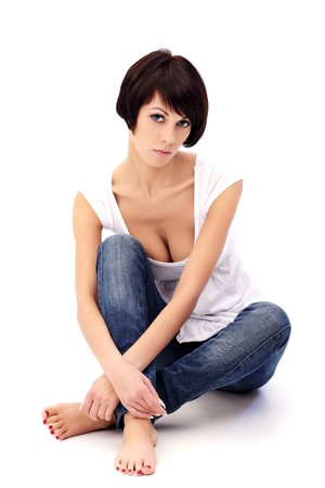 Closeup portrait of brunette female model with blue eyes on white background Stock Photo - 8314452