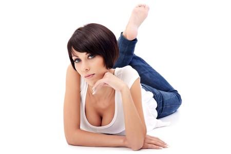 Brunette lady with blue eyes lying on white background Stock Photo - 8314437