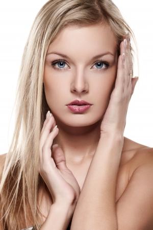 Portrait of beautiful female model on white background Stock Photo - 8404122
