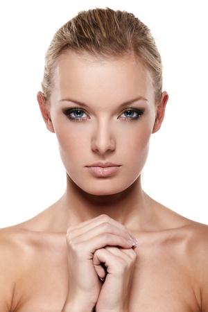 Portrait of beautiful female model on white background Stock Photo - 8386501