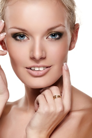 Portrait of beautiful female model on white background Stock Photo - 8342824