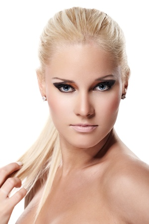 Portrait of beautiful female model on white background Stock Photo - 8387983