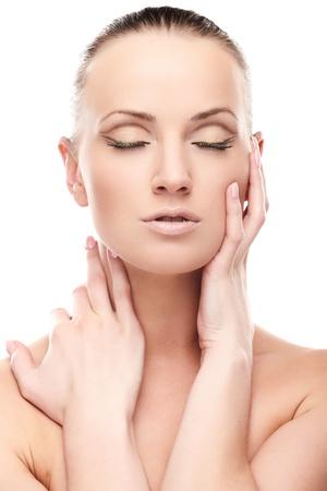 Portrait of beautiful female model with closed eyes on white background Stock Photo - 8342814