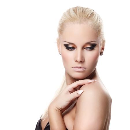 Portrait of beautiful female model on white background Stock Photo - 8900525