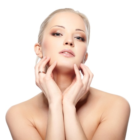 Portrait of beautiful female model on white background Stock Photo - 9404157