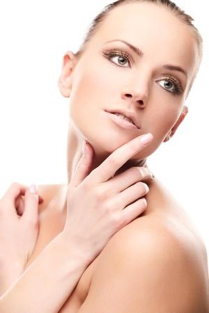 Portrait of beautiful female model on white background Stock Photo - 9912853